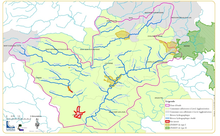 Zones naturelles du bassin amont de Laval affluents